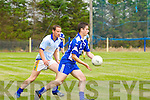 Con O'Keeffe (St Senans) in action with Conor Leary Renard in the Div 5 County League Round 7 at St Senans GAA Grounds, Mountcoal, on Sunday.