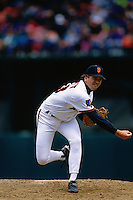 SAN FRANCISCO, CA - John Burkett of the San Francisco Giants pitches during a game against the New York Mets at Candlestick Park in San Francisco, California on April 24, 1994. (Photo by Brad Mangin)