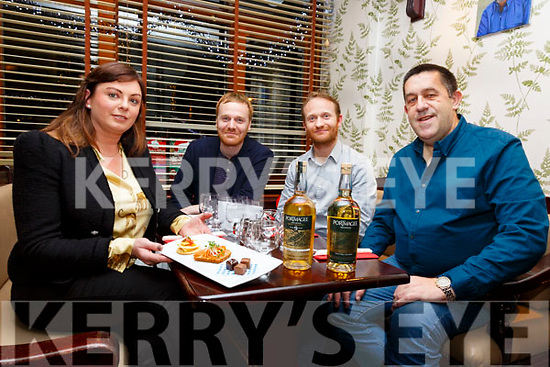 Pictured here in the Fertha Bar, Cahersiveen on Saturday for Portmagee Whiskey and food pairing evening were l-r; Alanna Kelleher, James Murphy, John Murphy & Stuart McNamara.  All proceeds on the night to the Valentia Lifeboat.