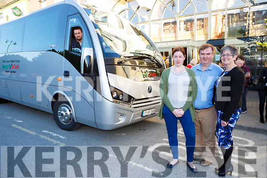 Tricia Kelly, Dan Horan and  Breda Dyland launched the new Cork Kerry Health link bus with driver Paudie Collins  in Castleisland on Tuesday evening