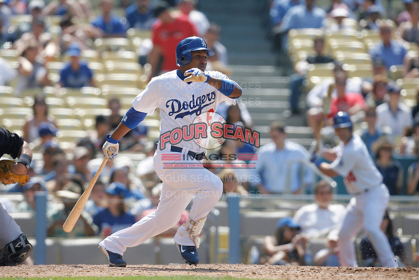 Tony Abreu of the Los Angeles Dodgers during a 2007 MLB season game at Dodger Stadium in Los Angeles, California. (Larry Goren/Four Seam Images)