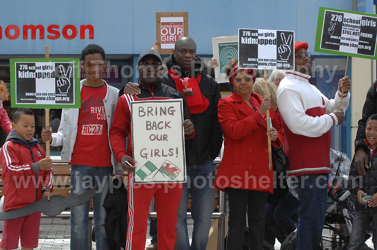 Supporters during the rally.<br /> <br /> Cardiff, South Wales. Sunday May 11th 2014. Nigerians in Cardiff in organised rally in support of the 276 abducted school children in Chibok, Nigeria by Boko Haram terrorists. <br /> <br /> Photo by Jeff Thomas/Jeff Thomas Photography