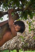 Aldeia Baú, Para State, Brazil. Kayapo boy hanging off a tree, smiling.