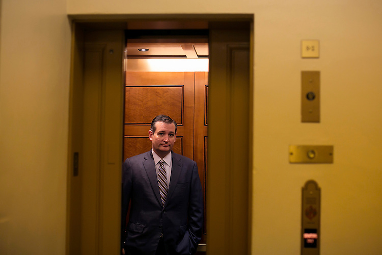 UNITED STATES - JULY 29: Sen. Ted Cruz, R-Texas, awaits for the elevator doors to close as he arrives in the basement of the Capitol, July 29, 2015. (Photo By Al Drago/CQ Roll Call)