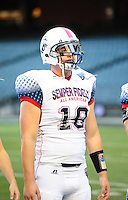 Jan. 3, 2012; Phoenix, AZ, USA; West tight end Jesse James against the East during the Semper Fidelis All-American Bowl high school football game at Chase Field. Mandatory Credit: Mark J. Rebilas-