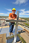 Re-roofing of Church of the Nativity Episcopal in copper by CopperWorks Corp. of Decatur, AL.  The preservation project is supported in part by a Save Americas Treasures grant administered by the National park Service, Dept. of the Interior.  Times photographer Bob Gathany at top of steeple.  (The Huntsville TImes/Bob Gathany)