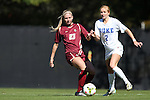 26 October 2014: Boston College's Madison Kenny (23) and Duke's Audrey Gibson (2). The Duke University Blue Devils hosted the Boston College University Eagles at Koskinen Stadium in Durham, North Carolina in a 2014 NCAA Division I Women's Soccer match. Duke won the game 2-1 in overtime.
