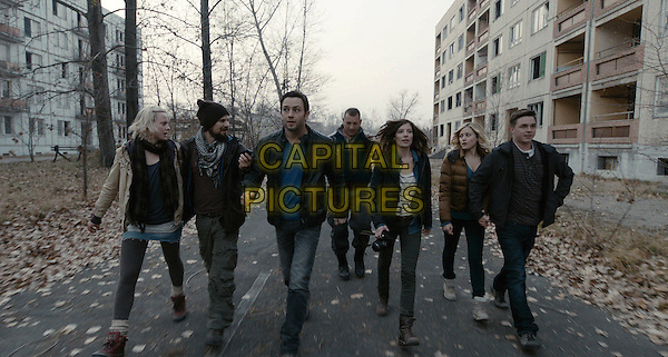 INGRID BOLSO BERDAL, NATHAN PHILLIPS, JONATHAN SADOWSKI, DIMITRI DIATCHENKO, DEVIN KELLEY, OLIVIA TAYLOR DUDLEY & JESSE McCARTNEY.in Chernobyl Diaries.*Filmstill - Editorial Use Only*.CAP/FB.Supplied by Capital Pictures.