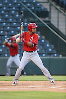 Ryan Vega (31) of the AZL Angels bats during a game against the AZL Giants at Tempe Diablo Stadium on July 6, 2015 in Tempe, Arizona. Angels defeated the Giants, 3-1. (Larry Goren/Four Seam Images)