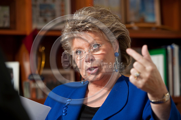 Brussels-Belgium - November 24, 2011 -- Viviane REDING from Luxembourg, Vice-President of the European Commission and in charge of Justice, Fundamental Rights and Citizenship, during an interview in her office -- Photo: Horst Wagner / eup-images
