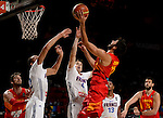 Spain's guard Ricky Rubio during the 2014 FIBA World basketball championships quarters of final match Spain vs France at the Palacio de los Deportes in Madrid on September 10, 2014.  PHOTOCALL3000 / DP