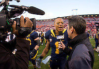 Marvin Jones of California gives an interview with CSN after the game at Candlestick Park in San Francisco, California on September 3rd, 2011.  California defeated Fresno State, 36-21.