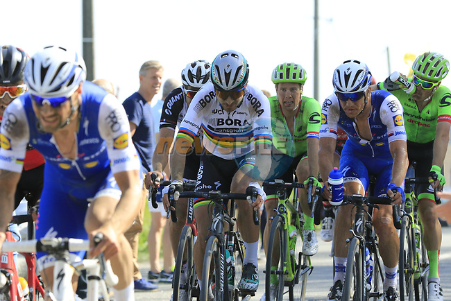 Tom Boonen (BEL) and Zdenek Stybar (CZE) Quick-Step and World Champion Peter Sagan (SVK) Bora-Hansgrohe come off  pave sector 10 Merignies a Avelin during the 115th edition of the Paris-Roubaix 2017 race running 257km Compiegne to Roubaix, France. 9th April 2017.<br /> Picture: Eoin Clarke | Cyclefile<br /> <br /> <br /> All photos usage must carry mandatory copyright credit (&copy; Cyclefile | Eoin Clarke)