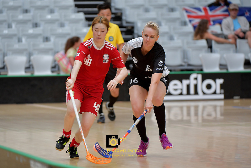 Korea's Ran Kim in action during the World Floorball Championships 2017 Qualification for Asia Oceania Region - New Zealand v Korea at ASB Sports Centre , Wellington, New Zealand on Sunday 5 February 2017.<br /> Photo by Masanori Udagawa<br /> www.photowellington.photoshelter.com.