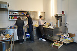 """24/03/2017, Berlin, Synagogue Ryke Straße<br /> <br /> Preparations for shabbat dinner during Berlin Jewish Food Week 2017 by Itay Novik and Julia Bosski.<br /> <br /> """"The east european (ashkenazi) kitchen is not a glorious one. It was born from poverty and constraints which influenced its variety and creativity. The kompot, for example was a great solution for fruits long over their pick. Especially for Nosh Berlin, Chef and food designer Itay Novik will cook a modern interpretation from his own traditional cuisine. This dinner will be hosted by the Rykestrasse synagoge as an opportunity for Jewish and non Jewish guests to take part in this special event. """""""
