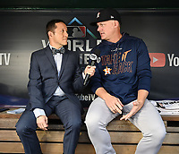 WASHINGTON DC - OCTOBER 26: Ken Rosenthal interviews Astros manager A. J. Hinch before World Series Game 4: Houston Astros at Washington Nationals on Fox Sports at Nationals Park on October 26, 2019 in Washington, DC. (Photo by Frank Micelotta/Fox Sports/PictureGroup)
