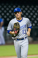 AZL Royals first baseman Nick Pratto (13) jogs off the field between innings of the game against the AZL Cubs on July 19, 2017 at Sloan Park in Mesa, Arizona. AZL Cubs defeated the AZL Royals 5-4. (Zachary Lucy/Four Seam Images)