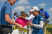 Wei-Ling Hsu (TPE) signs autographs near the green on 18 following the round 3 of the Volunteers of America Texas Classic, the Old American Golf Club, The Colony, Texas, USA. 10/5/2019.<br /> Picture: Golffile   Ken Murray<br /> <br /> <br /> All photo usage must carry mandatory copyright credit (© Golffile   Ken Murray)