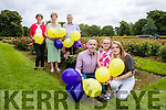 Rose of Tralee Elysha Brennan will take to the sky in a hot air balloon on Sunday of the Rose of Tralee festival and balloons will also be release with her to raise funds for the Kerry Palliative Care in patient unit. The event is in memory of Helen O'Connor, pictured are Helen's husband and children, Kevin Roche, Ciara Marie O'Connor Roche and Carrie O'Connor. In Background are Maura O'Sullivan, Mired Fernando and Ted Moynihan, Kerry Palliative Care.