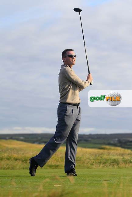 Stephen Healy (Carton House) on the 2nd tee during Matchplay Round 1 of the South of Ireland Amateur Open Championship at LaHinch Golf Club on Friday 24th July 2015.<br /> Picture:  Golffile | Thos Caffrey