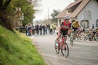 Edward THEUNS (BEL/Trek-Segafredo) up the first climb of the day: the Catsberg<br /> <br /> 81st Gent-Wevelgem 'in Flanders Fields' 2019<br /> One day race (1.UWT) from Deinze to Wevelgem (BEL/251km)<br /> <br /> ©kramon