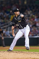 Charlotte Knights relief pitcher Matt Lindstrom (41) in action against the Pawtucket Red Sox at BB&T Ballpark on August 9, 2014 in Charlotte, North Carolina.  The Red Sox defeated the Knights  5-2.  (Brian Westerholt/Four Seam Images)