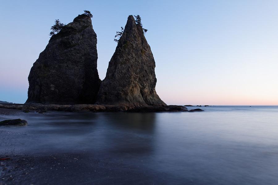 Sea stack at dusk, Rialto Beach, Olympic National Park, Washington State, USA