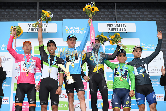 The final podium of the Tour de Yorkshire 2017 Serge Pauwels (BEL) blue jersey overall classification and Omar Fraile (ESP) Team Dimension Data 2nd, Jonathan Hivert (FRA) Direct Energie 3rd, Pieter Weening Roompot- Nederlandse Loterij pink jersey, Caleb Ewan (AUS) Orica-Sport green jersey and Dexter Gardias grey jersey at the end of Stage 3 running 194.5km from Bradford/Fox Valley to Sheffield, England. 30th April 2017. <br /> Picture: ASO/A.Broadway | Cyclefile<br /> <br /> <br /> All photos usage must carry mandatory copyright credit (&copy; Cyclefile | ASO/A.Broadway)