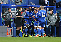 Cardiff City's Sol Bamba is congratulated after scoring his sides first goal<br /> <br /> Photographer /Rob NewellCameraSport<br /> <br /> The EFL Sky Bet Championship - Queens Park Rangers v Cardiff City - Saturday 4th March 2017 - Loftus Road - London<br /> <br /> World Copyright &copy; 2017 CameraSport. All rights reserved. 43 Linden Ave. Countesthorpe. Leicester. England. LE8 5PG - Tel: +44 (0) 116 277 4147 - admin@camerasport.com - www.camerasport.com