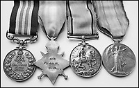 BNPS.co.uk (01202 558833)Pic: HistoryPress/ChristianBrady/BNPS<br /> <br /> Military Medal and service medals.<br /> <br /> The remarkable story of a humble street which was described by the king as 'the bravest in England' is told in a new book.<br /> <br /> The inhabitants of Chapel Street in Altrincham, Greater Manchester, displayed an unrivalled devotion of duty when Lord Horatio Kitchener made the rallying call for men to enlist in the First World War.<br /> <br /> From the tight-knit community of just 60 houses, a staggering 161 men volunteered - 81 of them on the first day.<br /> <br /> Tragically, however, 29 men from the street were killed in action, more than from any other street in England.