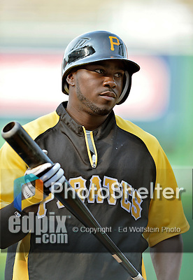 16 May 2012: Pittsburgh Pirates infielder Josh Harrison awaits his turn in the batting cage prior to a game against the Washington Nationals at Nationals Park in Washington, DC. The Nationals defeated the Pirates 7-4 in the first game of their 2-game series. Mandatory Credit: Ed Wolfstein Photo