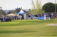 Nacho Elvira (ESP) on the 1st tee during Round 3 of the Open de Espana 2018 at Centro Nacional de Golf on Saturday 14th April 2018.<br /> Picture:  Thos Caffrey / www.golffile.ie<br /> <br /> All photo usage must carry mandatory copyright credit (&copy; Golffile | Thos Caffrey)