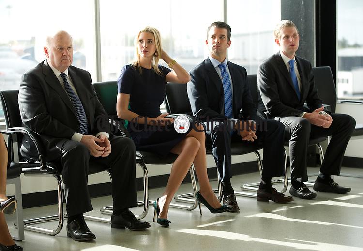 Donald Trump's daughter Ivanka, and sons Eric and Don  with Minister for Finance Michael Noonan after arriving in Shannon early this morning for a press conference while heading to view his latest purchase Trump International Golf Links And Hotel Ireland. Photograph by John Kelly.