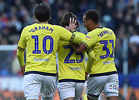 Blackburn Rovers' Bradley Dack celebrates scoring his side's first goal <br /> <br /> Photographer Rachel Holborn/CameraSport<br /> <br /> The EFL Sky Bet Championship - Bolton Wanderers v Blackburn Rovers - Saturday 6th October 2018 - University of Bolton Stadium - Bolton<br /> <br /> World Copyright &copy; 2018 CameraSport. All rights reserved. 43 Linden Ave. Countesthorpe. Leicester. England. LE8 5PG - Tel: +44 (0) 116 277 4147 - admin@camerasport.com - www.camerasport.com
