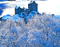 Eilean Donan Castle in Winter, Built 1230, Restored 1912, On Lochs Alsh, Long and Duich, Scotland