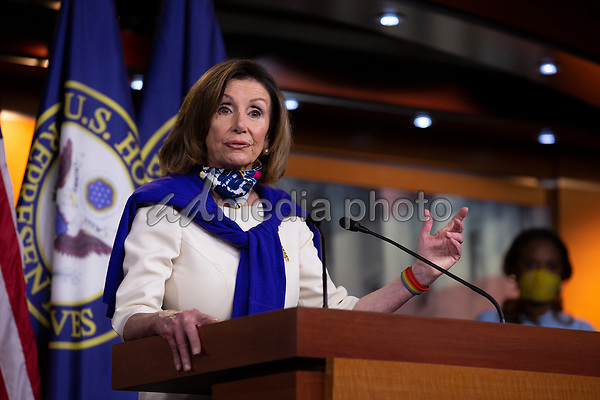 Speaker of the United States House of Representatives Nancy Pelosi (Democrat of California) speaks during a news conference regarding the vote by mail provision in the Heroes Act at the United States Capitol in Washington D.C., U.S. on Thursday, May 21, 2020. Credit: Stefani Reynolds / CNP/AdMedia