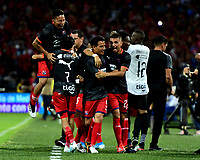 MEDELLÍN-COLOMBIA, 06-11-2019: Jugadores de Deportivo Independiente Medellín celebran el gol anotado a Deportivo Cali, durante partido de vuelta entre Deportivo Independiente Medellín y Deportivo Cali, por la final de la Copa Águila 2019, en el estadio Atanasio Girardot de la ciudad de Medellín. / Players of Deportivo Independiente Medellin celebrate a scored goal to Deportivo Cali, during a match of the second leg between Deportivo Independiente Medellin and Deportivo Cali, for the final of the Aguila Cup 2019 at the Atanasio Girardot stadium in Medellin city. / Photo: VizzorImage  / Nelson Ríos / Cont.