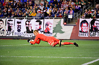 September 9, 2017 - Foxborough, Mass: New England Revolution goalkeeper Cody Cropper (1) dives on the ball during the MLS game between the Montreal Impact and the New England Revolution held at Gillette Stadium in Foxborough Massachusetts. Revolution defeat Impact 1-0. Eric Canha/CSM