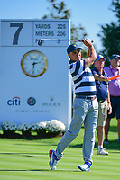 Rickie Fowler (USA) watches his tee shot on 7 during round 1 foursomes of the 2017 President's Cup, Liberty National Golf Club, Jersey City, New Jersey, USA. 9/28/2017.<br /> Picture: Golffile   Ken Murray<br /> ll photo usage must carry mandatory copyright credit (&copy; Golffile   Ken Murray)
