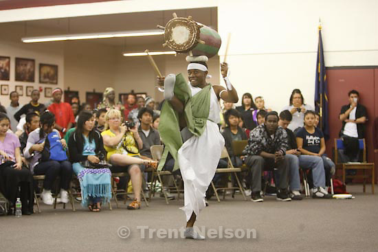 Trent Nelson  |  The Salt Lake Tribune.Fort Duchesne - Students from Granite School District's Newcomers Academy, which serves refugees, performed in a cultural exchange with Ute Indian students at the Uintah River High School. Refugee students from Nepal, Burma, Iraq, Burundi and other countries shared dances and song while Utes performed traditional dances and songs.. Thursday, April 15, 2010. drum group