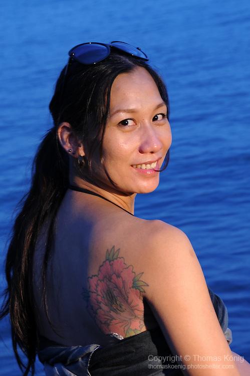 Kaohsiung, Taiwan -- Pregnant model at Chijin Island.
