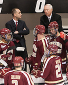 Quinn Smith (BC - 27), Mike Cavanaugh (BC - Associate Head Coach), Patrick Brown (BC - 23), Steven Whitney (BC - 21), Jerry York (BC - Head Coach), Brooks Dyroff (BC - 14) - The Providence College Friars tied the visiting Boston College Eagles 3-3 on Friday, December 7, 2012, at Schneider Arena in Providence, Rhode Island.