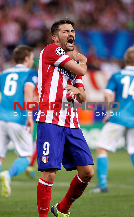 Atletico de Madrid's David Villa complains  during Champions League 2013/2014 match.September 18,2013. Foto © nph / Victor Blanco)