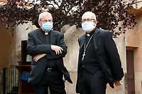 Priests wearing masks in a windy day<br /> Roma May 13th 2020. Due to the next reopening of the religious celebrations scheduled on May 18th, the Italian Army, together with the municipality operators at the specific request of the Vicariate of Rome, started today the sanitation activities of the external and internal areas of the Capitoline Churches through its specialized teams in the Chemical, Biological, Radiological and Nuclear (CBRN) fields. <br /> Photo Samantha Zucchi Insidefoto