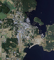 aerial map view above Friday Harbor San Juan islands Washington