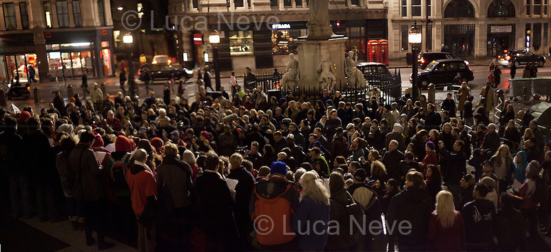 London, 21/12/2011. At 18:00 people gathered outside St Paul's Cathedral for the Occupy LSX Christmas Chanting.