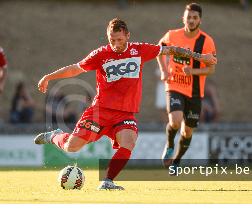 20150710 - DEINZE , BELGIUM : Kortrijk's Teddy Chevalier pictured during a friendly match between Belgian first division team KV Kortrijk and Belgian second division soccer team SK Deinze , during the preparations for the 2015-2016 season, Friday 10th July 2015 in Deinze . PHOTO DAVID CATRY
