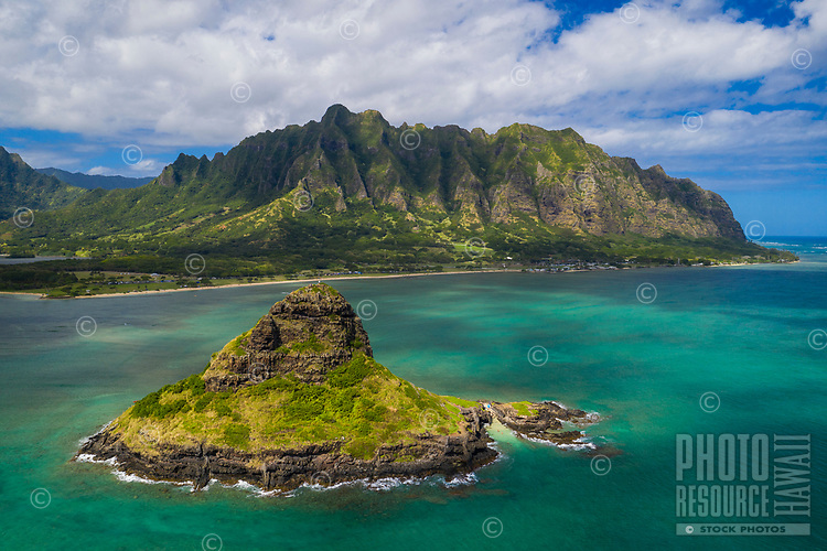 Aerial view of Chinaman's Hat (or Mokoli'i) Island and Kualoa Regional Park at Kane'ohe Bay, Windward O'ahu.