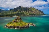 Aerial view of Chinaman's Hat (or Mokoli'i) and Kualoa Regional Park at Kane'ohe Bay, Windward O'ahu.