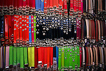 Leather belts on display, Fethiye market, Turkey